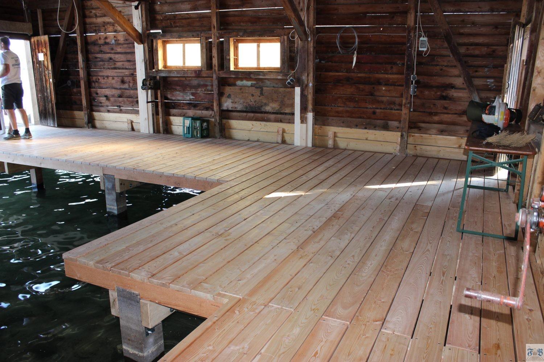 Bootshaus Innenausbau in Lärche